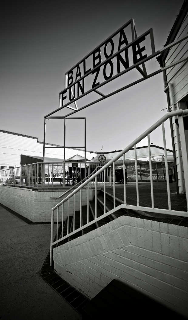 Balboa Fun Zone (Black and White) - Balboa Peninsula